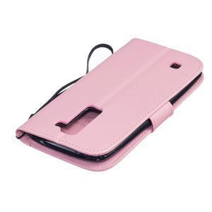 Dandelion PU kožené puzdro pre mobil LG K8 - ružové - 4