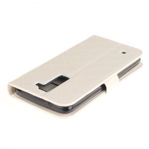 Luxusní PU kožené puzdro s přezkou na LG K8 - biele - 4