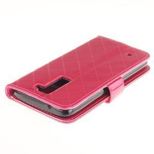 Luxusní PU kožené puzdro s přezkou na LG K8 - rose - 4