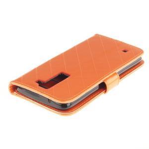 Luxusní PU kožené puzdro s přezkou na LG K8 - oranžové - 4
