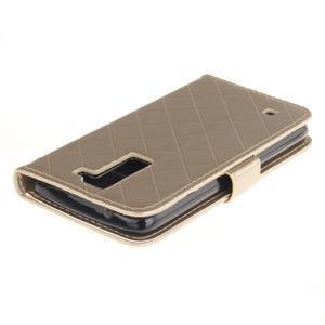 Luxusní PU kožené puzdro s přezkou na LG K8 - champagne - 4
