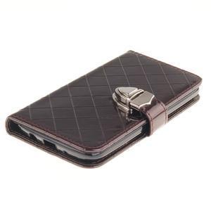 Luxusní PU kožené puzdro s přezkou na LG K8 - hnedé - 4