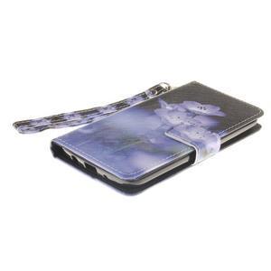 Style PU kožené pouzdro na LG K8 - fialové květiny - 4