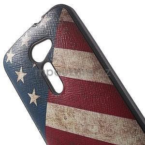 Gélový obal s imitáciou vrúbkované kože na Asus Zenfone 2 ZE500CL - vlajka USA - 4