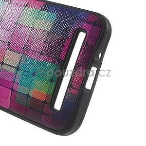 Gélový obal s imitáciou vrúbkované kože na Asus Zenfone 2 ZE500CL - mozaika farieb - 4