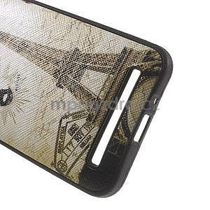 Gélový obal s imitáciou vrúbkované kože na Asus Zenfone 2 ZE500CL - Eiffelova veža - 4