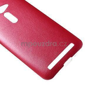 Gélový kryt s imitáciou kože Asus Zenfone 2 ZE500CL -  červený - 4