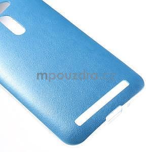 Gélový kryt s imitáciou kože Asus Zenfone 2 ZE500CL - modrý - 4
