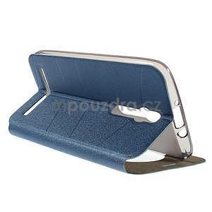 Modré klopové puzdro s okienkom na Asus Zenfone 2 ZE551ML - 4