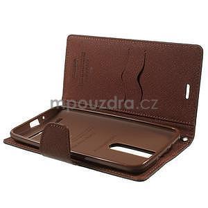 Zapínacie PU kožené puzdro na Asus Zenfone 2 ZE551ML - čierne/hnedé - 4