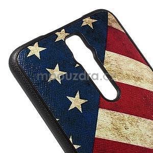 Gélový kryt s imitáciou vrúbkované kože pre Asus Zenfone 2 ZE551ML -  vlajka USA - 4