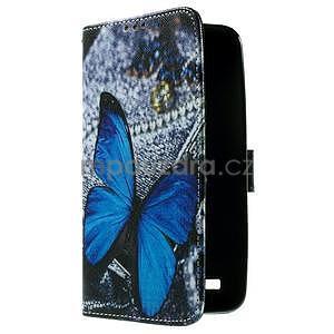Zapínacie peňaženkové puzdro na Asus Zenfone 2 ZE551ML - modrý motýľ - 4