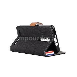 Čierne peňaženkové látkove / PU kožené puzdro pre Asus Zenfone 2 ZE551ML - 4