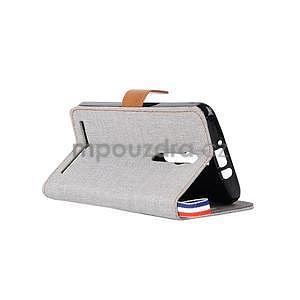 Šedé peňaženkové látkove / PU kožené puzdro pre Asus Zenfone 2 ZE551ML - 4