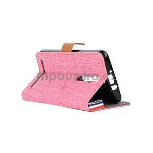 Ružové peňaženkové látkove / PU kožené puzdro pre Asus Zenfone 2 ZE551ML - 4
