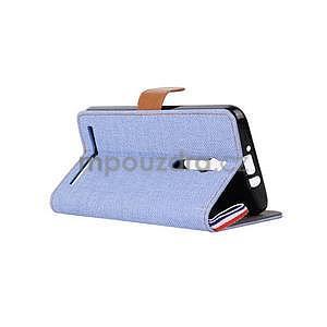 Svetlomodré peňaženkové látkove / PU kožené puzdro pre Asus Zenfone 2 ZE551ML - 4