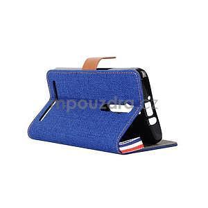 Modré peňaženkové látkove / PU kožené puzdro pre Asus Zenfone 2 ZE551ML - 4