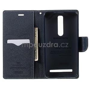 Zapínacie PU kožené puzdro na Asus Zenfone 2 ZE551ML - azúrové - 4