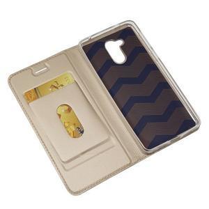 Magnetic PU kožené puzdro na Honor 6C - zlaté - 4