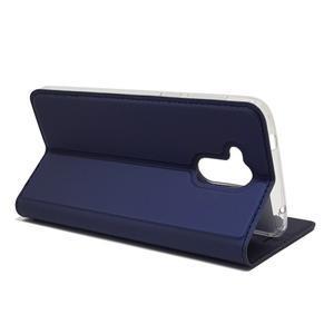 Magnetic PU kožené puzdro na Honor 6C - tmavomodré - 4