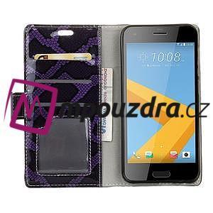 SnakeŠtýle PU kožené peňaženkové puzdro pre HTC One A9s - fialové - 4