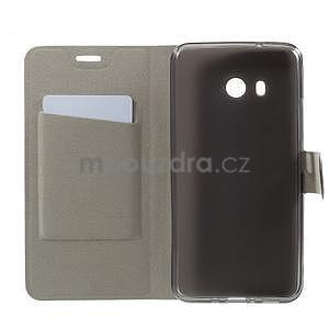 Horse PU kožené zapínacie puzdro na HTC U11 - čierne - 4