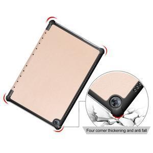 Trifold PU kožené polohovateľné puzdro na Huawei MediaPad M5 10 - zlaté - 4