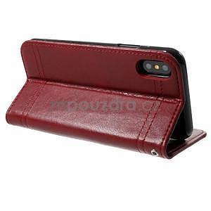 Retro style PU kožené puzdro na mobil iPhone X - červené - 4