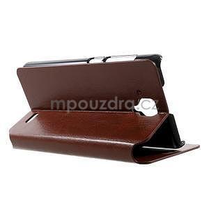 Peňaženkové kožené puzdro na Lenovo A536 - hnedé - 4