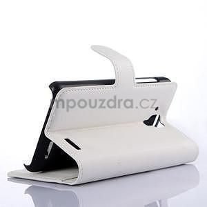 Elegantné kožené puzdro na mobil Lenovo A536 - biele - 4