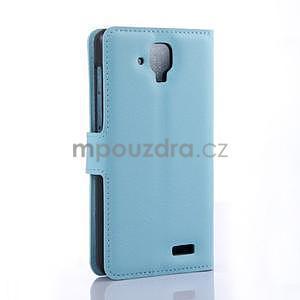 Elegantné kožené puzdro na mobil Lenovo A536 - svetlo modré - 4