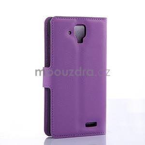 Elegantné kožené puzdro na mobil Lenovo A536 - fialové - 4