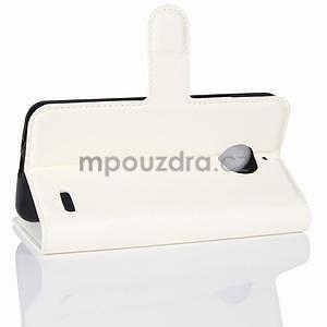 Grain PU kožené puzdro pre mobil Lenovo Moto E4 - biele - 4