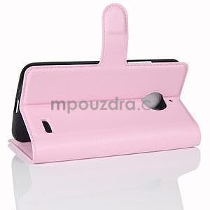 Grain PU kožené puzdro pre mobil Lenovo Moto E4 - ružové - 4