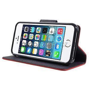 Dvojfarebné peňaženkové puzdro pre iPhone 5 a 5s - červené/tmavomodre - 4