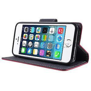 Dvojfarebné peňaženkové puzdro na iPhone 5 a 5s - rose/ tmavomodré - 4