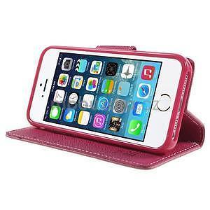 Dvojfarebné peňaženkové puzdro pre iPhone 5 a 5s - ružové/rose - 4