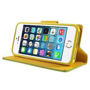 Dvojfarebné peňaženkové puzdro na iPhone 5 a 5s - zelené/ žlté - 4
