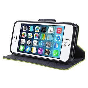 Dvojfarebné peňaženkové puzdro na iPhone 5 a 5s - zelené/ tmavomodré - 4