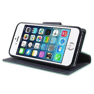 Dvojfarebné peňaženkové puzdro pre iPhone 5 a 5s - azurové/ tmavomodré - 4