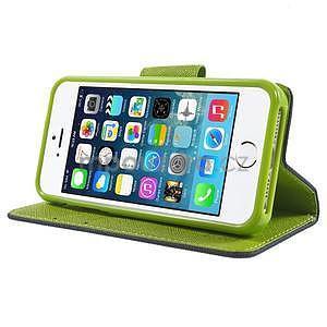 Dvojfarebné peňaženkové puzdro pre iPhone 5 a 5s - tmavomodre/zelené - 4