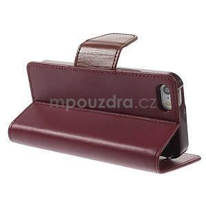 Peňaženkové koženkové puzdro na iPhone 5s a iPhone 5 -  vínové - 4