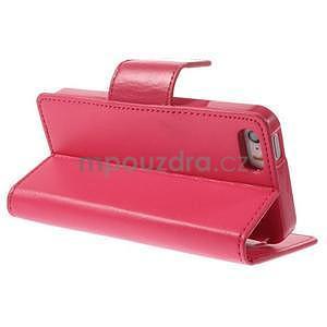 Dvojfarebné peňaženkové puzdro pre iPhone 5 a 5s - rose/ružové - 4
