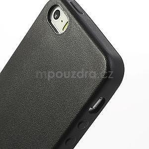 Gélový obal s textúrou na iPhone 5 a 5s - čierny - 4