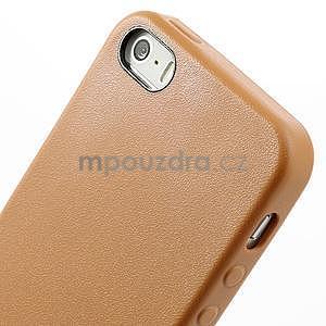 Gélový obal s textúrou na iPhone 5 a 5s - oranžový - 4