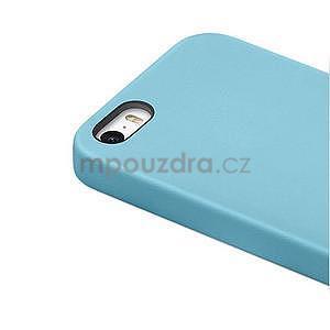 Gélový obal s textúrou na iPhone 5 a 5s - modrý - 4