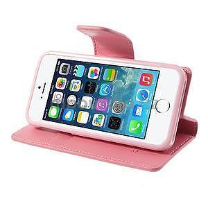 Peňaženkové koženkové puzdro pre iPhone 5s a iPhone 5 - ružové - 4