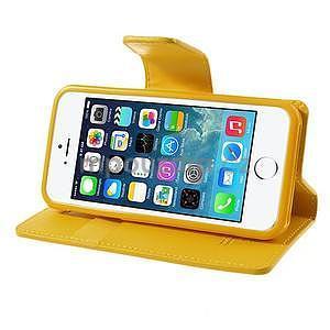 Peňaženkové koženkové puzdro pre iPhone 5s a iPhone 5 - žlté - 4
