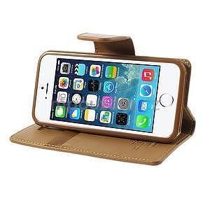 Peňaženkové koženkové puzdro pre iPhone 5s a iPhone 5 - coffee - 4