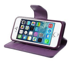Peňaženkové koženkové puzdro pre iPhone 5s a iPhone 5 - fialové - 4